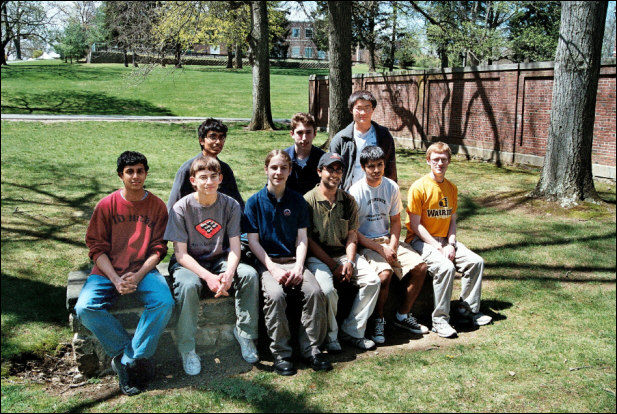 Left to right back row: Mathew Akhil, Madison HS, Christopher Varnerin, Watchung RHS, Yixiao Wang, Westfield HS,. Front row: Siddarth Viswanathan, East Brunswick, David Kolchmeyer, East Brunswick HS, Ian Osborn, Bergen Academy, Ajay Roopakalu, South Brunswick HS, Utsarga Sikder, South Brunswick HS, Timothy Barnum, Watchung RHS.