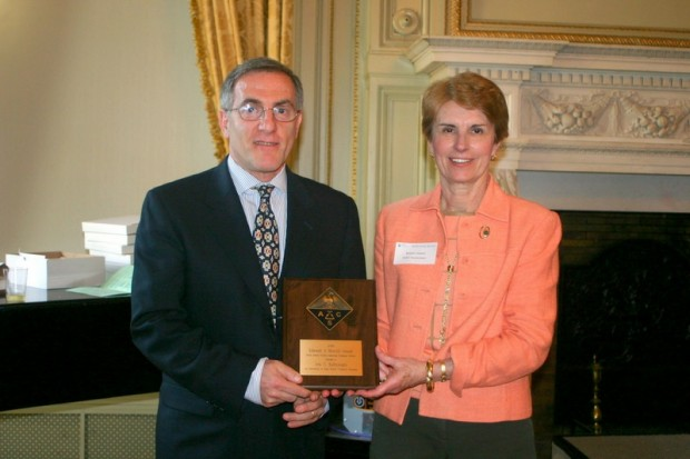 May 17, 2009 Award Banquet – Dr. Ara Kahyaoglu from Bergenfield HS receives the Edward J. Merrill Award for Excellence in HS Chemistry Teaching from NoJACS secretary Bettyann Howson